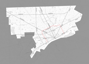 Grand Boulevard (Detroit) - Grand Boulevard highlighted in red