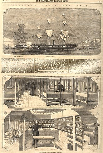 Hospital ship - HMS Melbourne, the first modern hospital ship, served during the Second Opium War. Excerpt from The Illustrated London News about the ship (click to read).