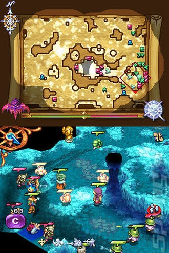 Heroes of Mana - A battle in Heroes of Mana. The upper screen shows the game map, including fog of war, while the bottom screen shows a portion of the game field with several units with health bars attacking enemies.