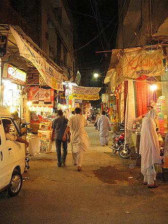 Ichhra - A view of the Ichhra Bazaar (Market) at night.