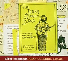 A flyer for the Jerry Garcia Band concert at Kean College, posted on a bulletin board