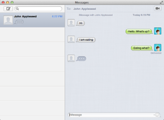 Messages (Apple) - Image: Mac OS X Messages screenshot