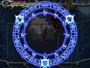 Castlevania: Dawn of Sorrow - A Magic Seal presented after reducing a boss's health to zero.