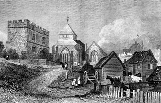Minster, Swale - Minster, Isle of Sheppy, an 1830 engraving that appeared in Ireland's History of Kent.