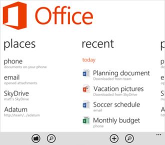 Microsoft Office mobile apps - Office Hub on Windows Phone 8 and 8.1