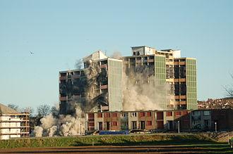 Oxgangs - Oxgangs tower block demolition on 26 November 2006