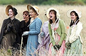 Pride & Prejudice (2005 film) - Jacqueline Durran designed the Bennet sisters' costumes based on their characters' specific characteristics. From left: Mary, Elizabeth, Jane, Mrs Bennet, Kitty and Lydia.