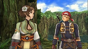 """Rogue Galaxy - A cutscene showing Jaster speaking with Kisala. This image demonstrates the """"tonal rendering"""" graphical style used by Level-5 in the game; cel-shaded 3D graphics for the foreground characters, set against detailed, realistic backgrounds."""