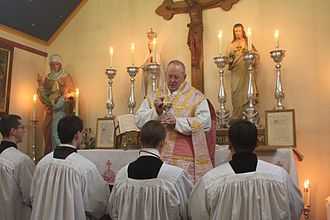 Gaudete Sunday - Roman Catholic Gaudete Sunday mass in which the priest is wearing the customary rose vestments