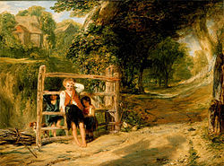"""Rustic Civility by William Collins showing a child """"tugging his forelock"""" as a local authority figure passes on horseback (only visible by the shadow)"""