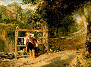 Work (painting) - Rustic Civility (1833) by William Collins depicting a deferential social system and visual harmony. The boy is tugging his forelock to a passing member of the gentry on horseback (visible as a shadow)