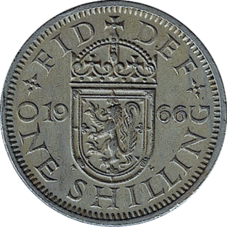 Shilling (British coin) - The Scottish reverse design of a 1966 shilling.