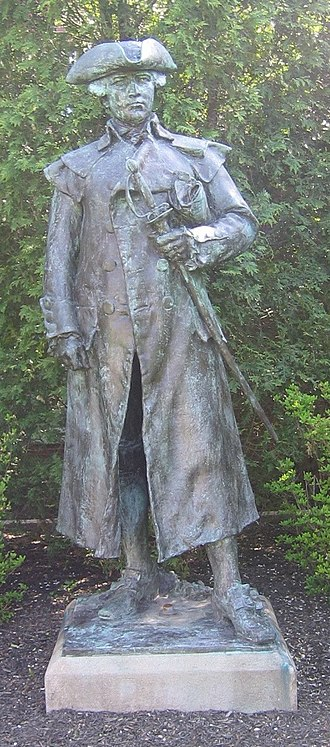 Roxbury Latin School - Statue of alumnus Joseph Warren in front of the School
