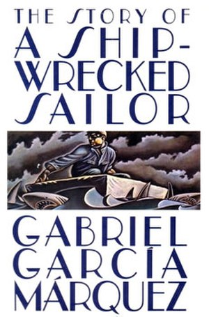 The Story of a Shipwrecked Sailor - First English-language edition cover 1986. Note the size of raft, shape and material (cork covered in canvas with an open webbed bottom).
