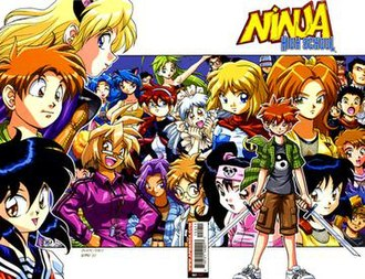 Ninja High School - To the left, the original main characters, Asrial, Jeremy, and Ichi-kun. To the right the current cast, centred around Ricky Feeple