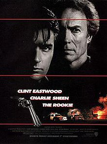 "A black poster with three horizontal red lines. Above are the faces of two serious-looking men. The man on the left, is young and black-haired. The man on the right, is older and lighter-haired. The right sides of their faces are invisible because of darkness. Below that in bold white letters are the lines: ""The Rookie"", ""Clint Eastwood"" and ""Charlie Sheen"". To the left of this text is a closeup of a revolver, and to the right and below are police cars, an aircraft, and a fiery explosion. The film credits appear at the bottom, with a line in bold white letters that reads: ""Starts Friday December 7 Everywhere""."