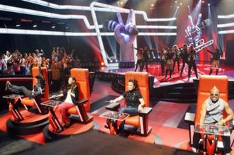 The Voice of the Philippines - The Voice of the Philippines coaches (from left to right): Bamboo Mañalac, Sarah Geronimo, Lea Salonga, and apl.de.ap sitting on their respective red chairs during the blind auditions held at ABS-CBN's Studio 2.