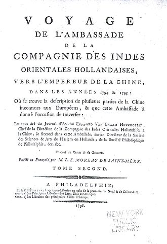 Andreas Everardus van Braam Houckgeest - Van Braam's account of the Titsingh mission was initially written in French and published in Philadelphia. This is the title page from the second printing in 1798.