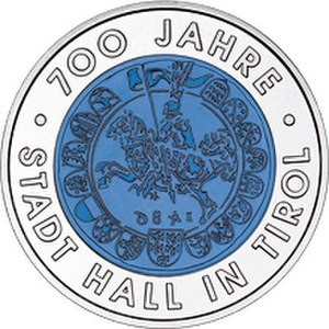 Coining (mint) - 700 Years City of Hall in Tyrol coin