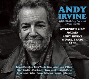Andy Irvine/70th Birthday Concert at Vicar St 2012 - Image: 70th CD Cover for web