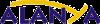 Слово Алания в синем тексте для письма Y, который является удлиненным и желтым цветом, за исключением.