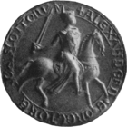 Greyscale photograph of the seal of Alexander II, King of Scotland.