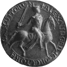Black and white photo of the seal of Alexander II, King of Scots.