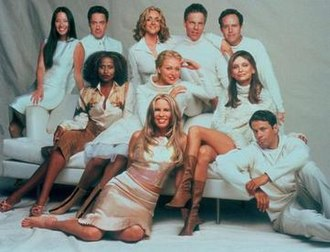Ally McBeal - Cast of season 4 (from left): (top) Liu, Downey, Krakowski, Germann, MacNicol; (middle) Carson, de Rossi, Flockhart; (bottom) Shepard, LeGros