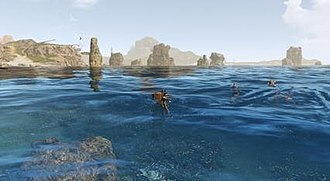 ArcheAge - Swimming in the ocean, a typical in-game scene.