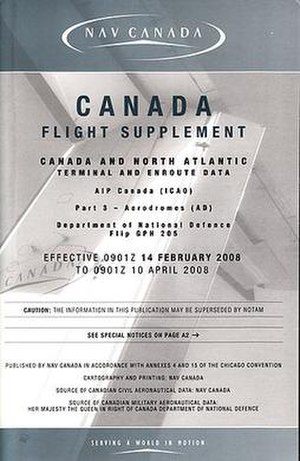 Canada Flight Supplement - The Canada Flight Supplement with its current blue cover since Nav Canada took over publication.