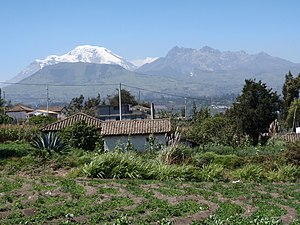Ambato, Ecuador - Chimborazo and Carihuairazo seen from the outskirts of Ambato