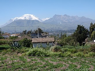 Ambato, Ecuador - Chimborazo and Carihuairazo seen from the outskirts of Ambato