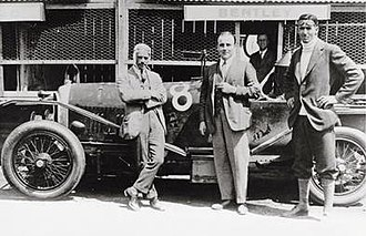 Frank Clement (racing driver) - Left to right: Frank Clement, W.O. Bentley, and John Duff in front of their Bentley which won the 1924 24 Hours of Le Mans.