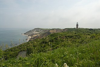 Aquinnah, Massachusetts - The Clay Cliffs of Aquinnah pictured here in 2008 with the Gay Head Lighthouse