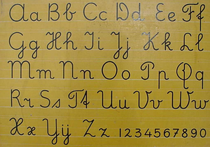 "Dutch orthography - A poster showing the letters of the alphabet as used for the teaching of handwriting in the Netherlands. The last three letter pairs read ""Xx IJij Zz""."