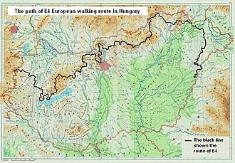 E4 European long distance path - The path of European walking route E4 in Hungary