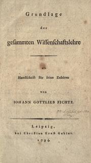 <i>Foundations of the Science of Knowledge</i> book by Johann Gottlieb Fichte
