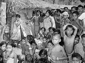 1964 East Pakistan riots - Garo refugees from East Pakistan in Garo Hills, Assam, India.