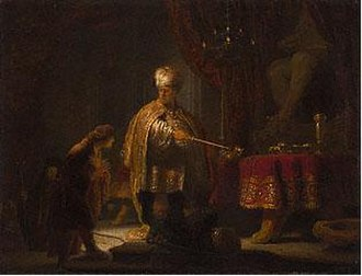 Rembrandt in Southern California - Daniel and Cyrus before the Idol Bel, 1633, Getty. In Southern California by 1995