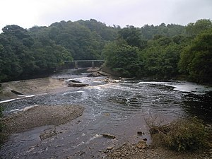 2008 Morpeth floods - High Ford Weir destroyed by the flood (14 September 2008).