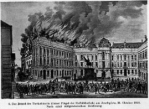 Hofburg fire -  Hofburg fire of 1848, at the Hofburg Imperial Library on 31 October 1848