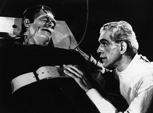 Glenn Strange - Strange and Boris Karloff, in the 1944 horror film, House of Frankenstein