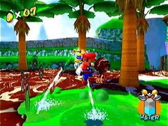 Super Mario Sunshine - Mario using the Hover Nozzle