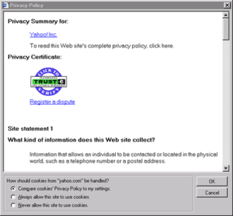 P3P - Yahoo!'s P3P policy as viewed in Internet Explorer 6.