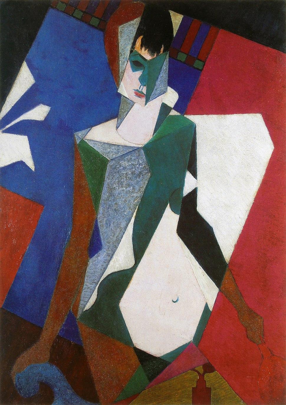 Jean Metzinger, 1916, Femme au miroir (Femme à sa toilette, Lady at her Dressing Table), oil on canvas, 92.4 x 65.1 cm, private collection