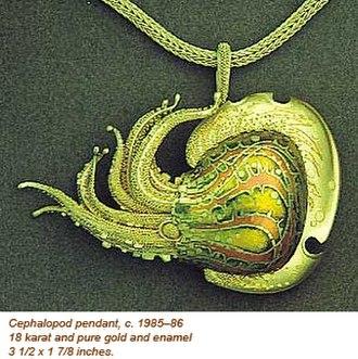 John Paul Miller - Cehalopod pendant 1985-86, gold and enamel