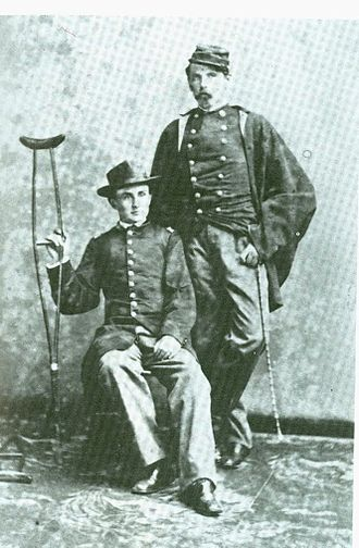 Myles Keogh - 1865 – Major Myles Keogh, Union Army, standing, Robert Morrow seated