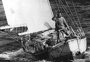 Sunday Times Golden Globe Race - Robin Knox-Johnston finishing his circumnavigation of the world in Suhaili as the winner of the Golden Globe Race