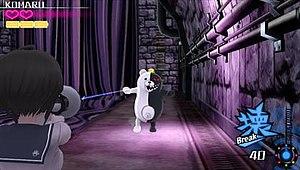 Danganronpa Another Episode: Ultra Despair Girls - Komaru using a Hacking Megaphone to shoot a Monokuma enemy