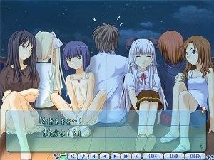 Kono Aozora ni Yakusoku o - A scene in Kono Aozora ni Yakusoku wo with all the main characters of the game.